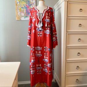 Dresses - NWOT 70s Boho Tassel Caftan Maxi Dress